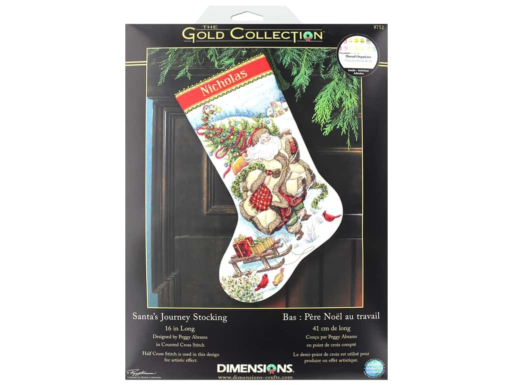 Dimensions Cross Stitch Kit Gold Collection Stocking Santa's Journey