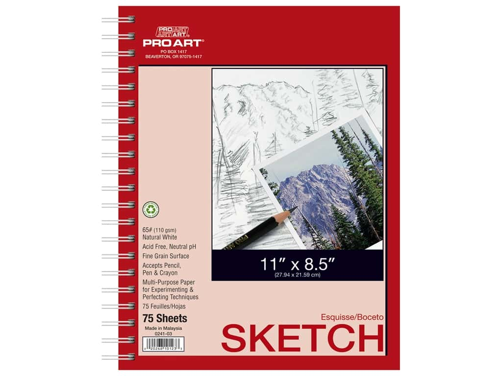 Pro Art Sketch Paper Pad 65lb 8.5 in. x 11 in. Side Wire Bound 75 pc