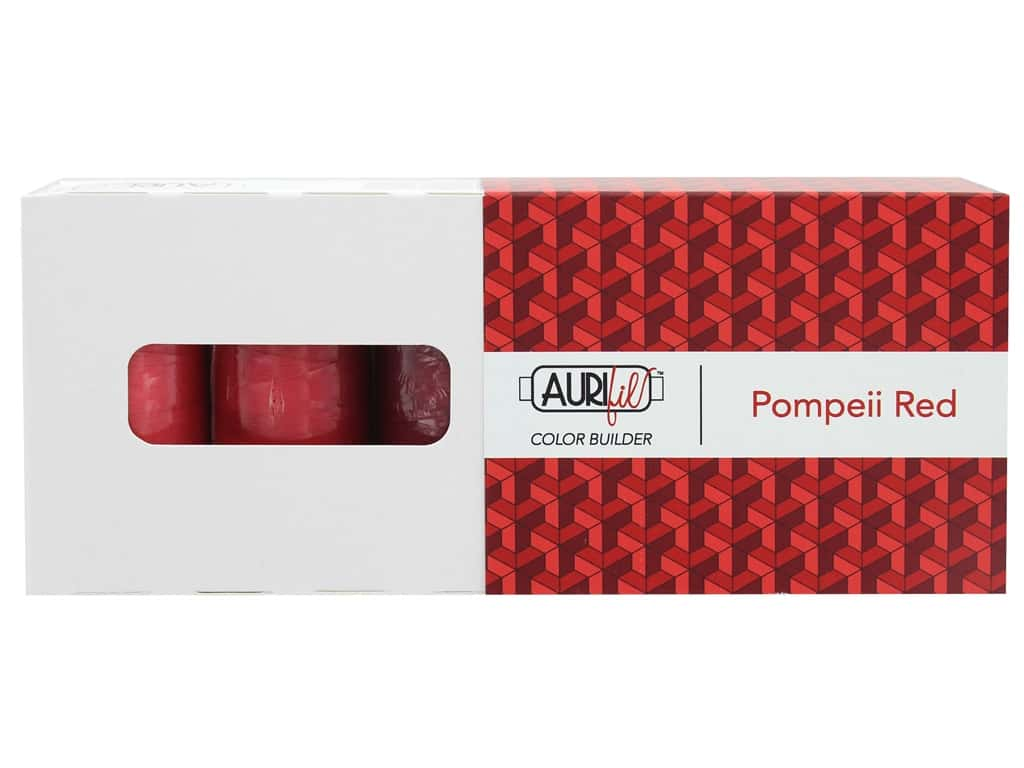 Aurifil Thread Cotton Mako 50 wt 1300 M Color Builders Pompeii Red 3 pc