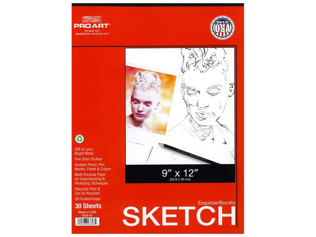 Pro Art Sketch Paper Pad 50 lb 9 in. x 12 in. Tape Bound 30 pc