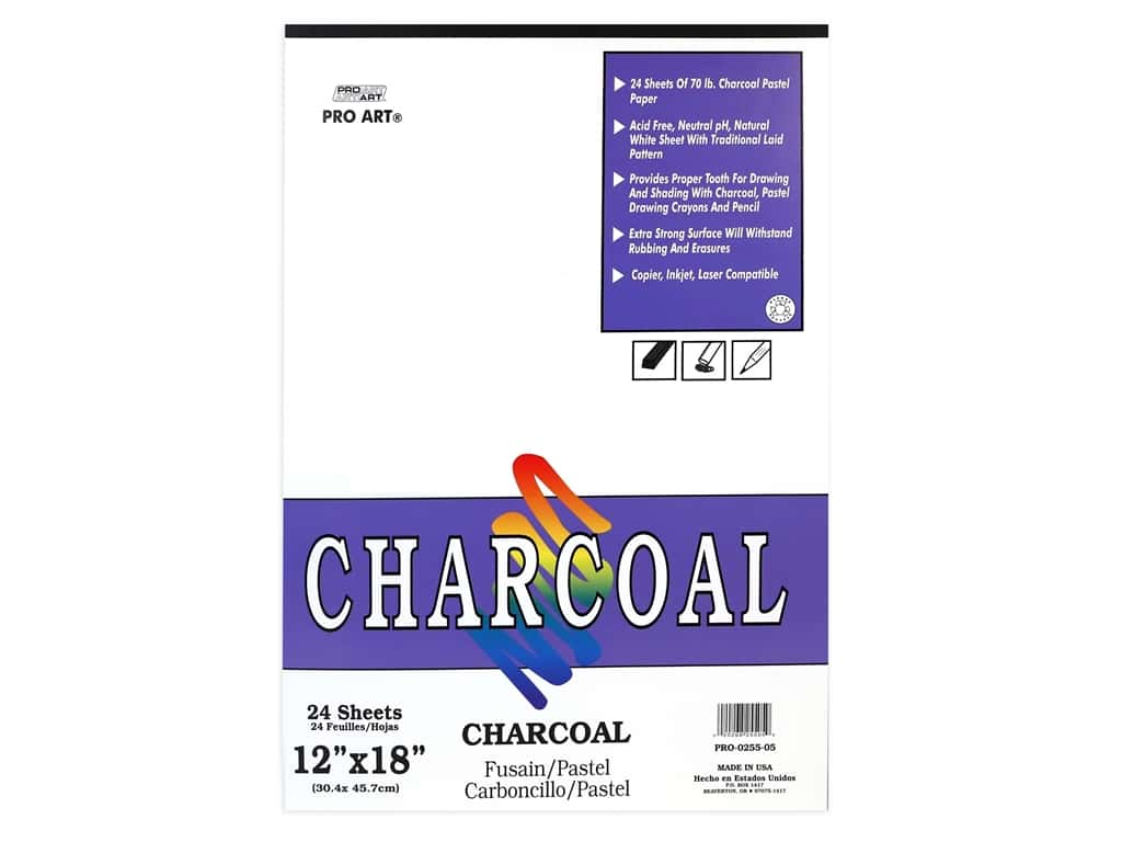 Pro Art White Charcoal Pad 12 in. x 18 in. 70 lb Acid Free 24 pc