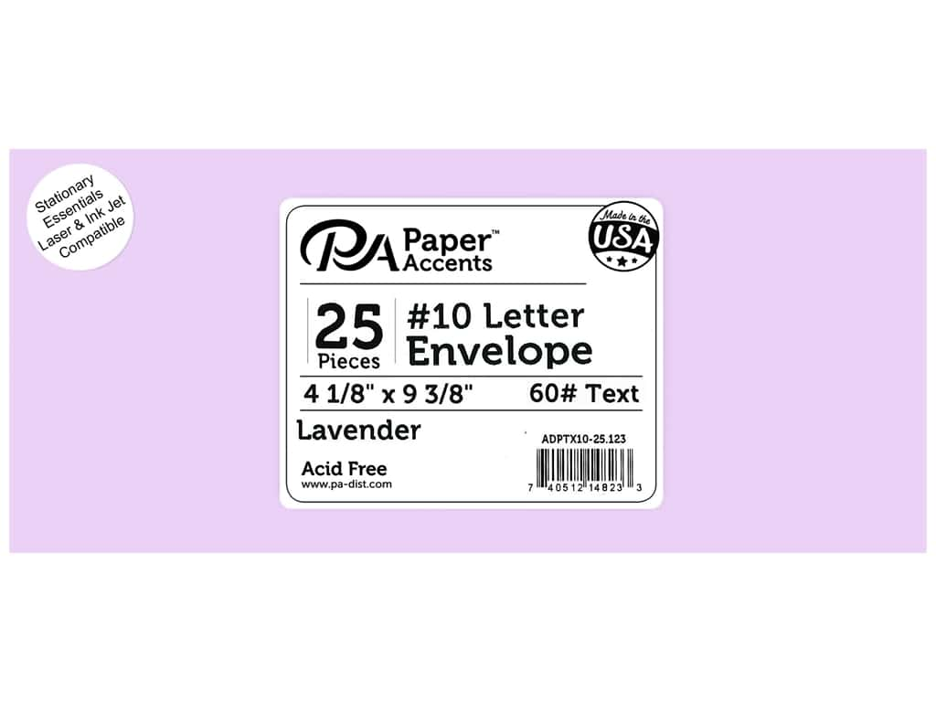Paper Accents 4 x 9 1/4 in. Letter Envelopes 25 pc. #123 Lavender