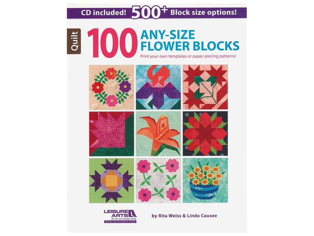 Leisure Arts 100 Any-Size Flower Blocks Book