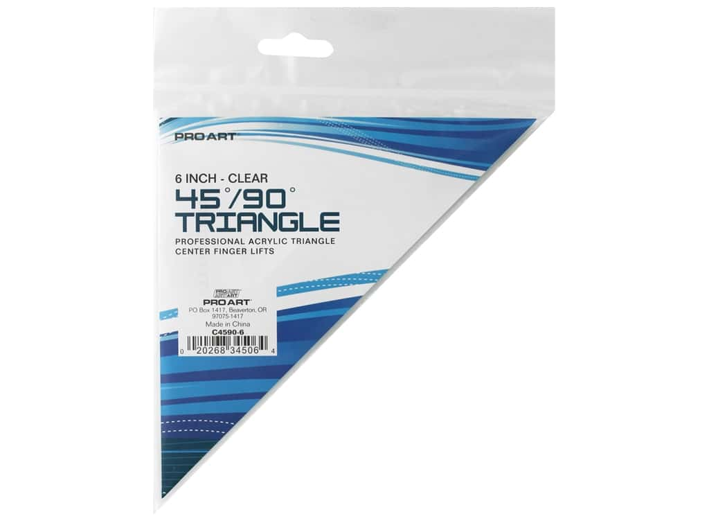 Pro Art Triangle 6 in. Finger Lift 45/90 Degree Clear