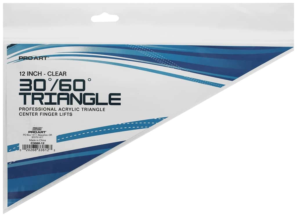 Pro Art Triangle 12 in. Finger Lift 30/60 Degree Clear