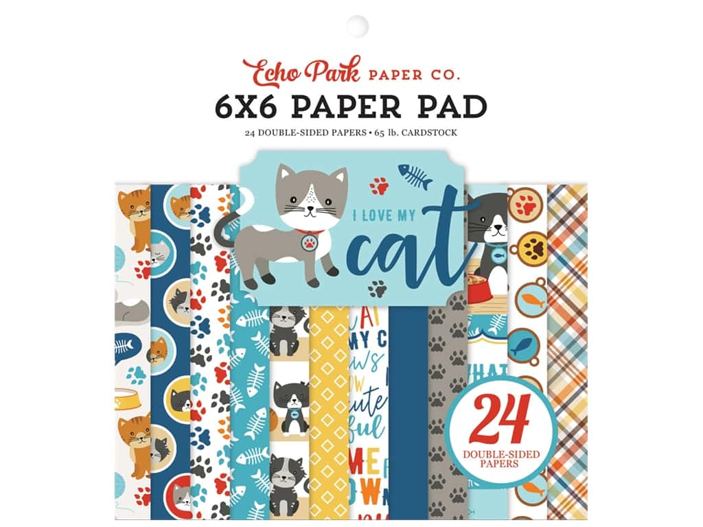 Echo Park Collection I Love My Cat Paper Pad 6 in. x 6 in.