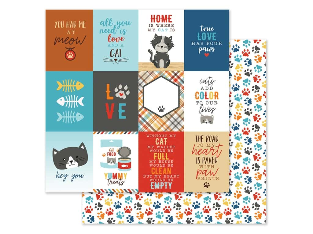 Echo Park Collection I Love My Cat Paper 12 in. x 12 in. Journal Card 3 in. x 4 in. (25 pieces)