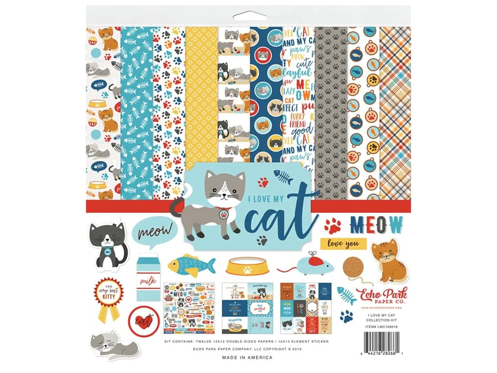 Echo Park Collection I Love My Cat Collection Kit 12 in. x 12 in.