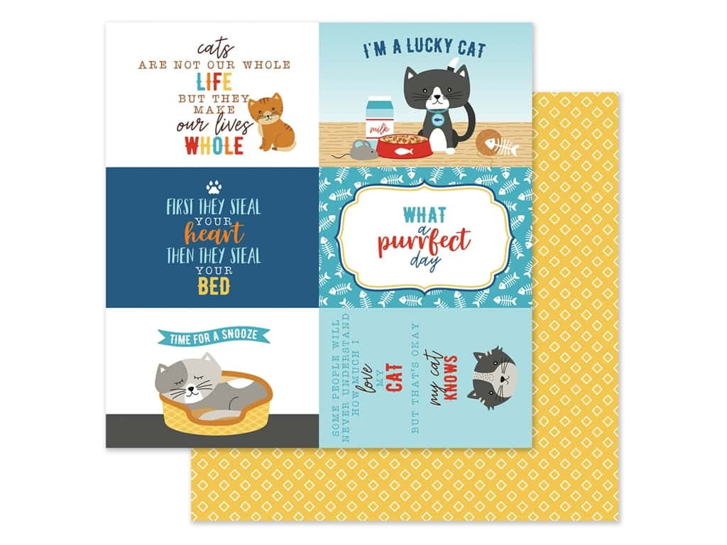 Echo Park Collection I Love My Cat Paper 12 in. x 12 in. Journal Card 4 in. x 6 in. (25 pieces)