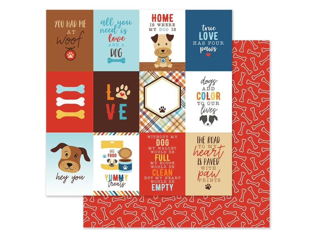 Echo Park Collection I Love My Dog Paper 12 in. x 12 in. Journal Card 3 in. x 4 in. (25 pieces)
