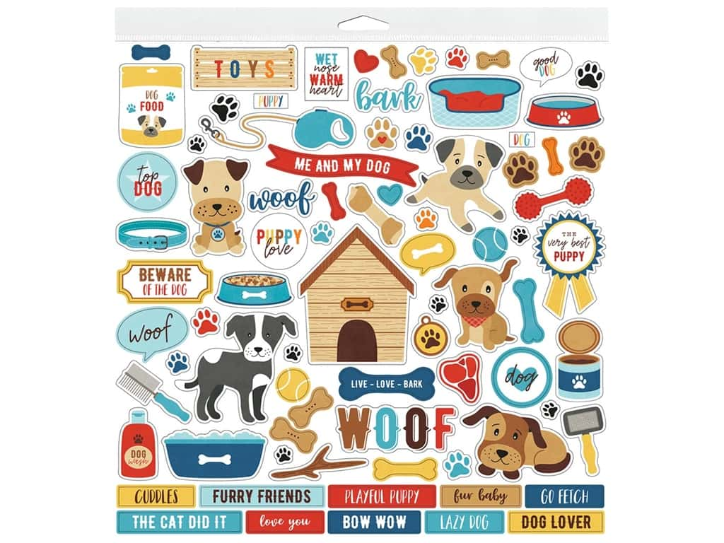 "Echo Park Collection I Love My Dog Sticker 12""x 12"" Elements (15 pieces)"