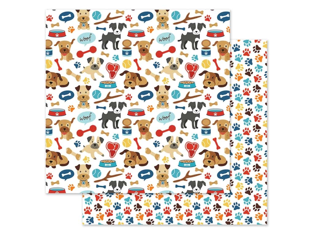 Echo Park Collection I Love My Dog Paper 12 in. x 12 in. Woof Woof (25 pieces)