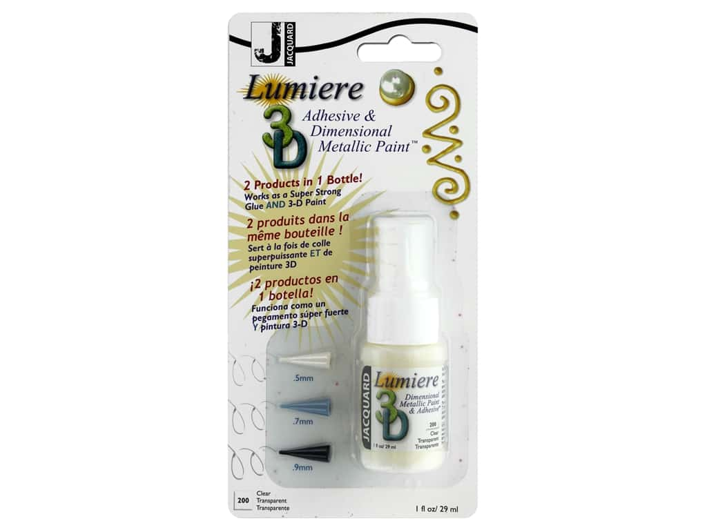 Jacquard Lumiere 3D Adhesive & Paint 1 oz With 3 Tips