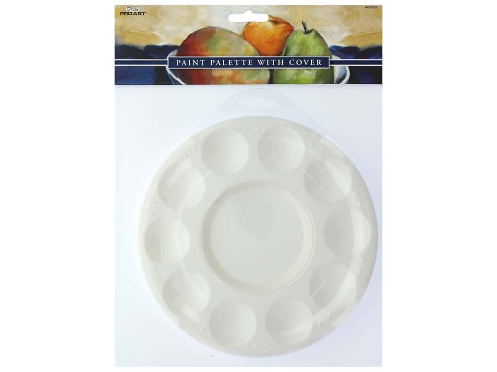 Pro Art Palette Plastic Round With Cover 10 Well Tray