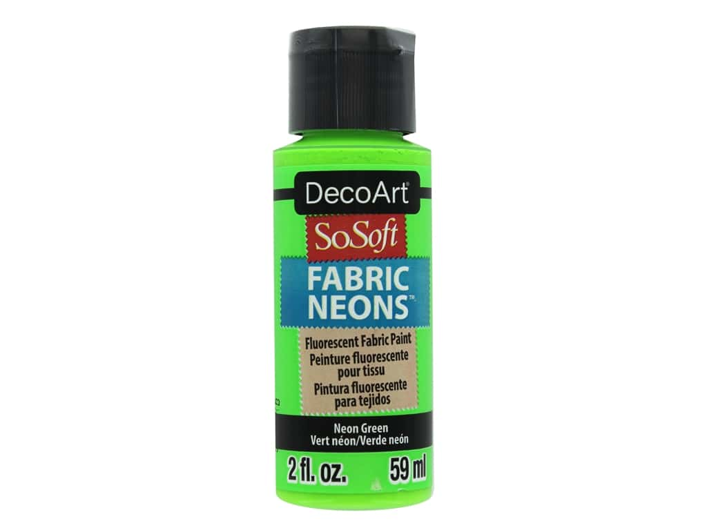 DecoArt SoSoft Fabric Paint 2 oz. Neon Green