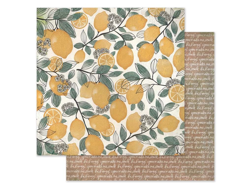 American Crafts Collection Vicki Boutin Wildflower & Honey Paper 12 in. x 12 in. Lemon Spritz (25 pieces)