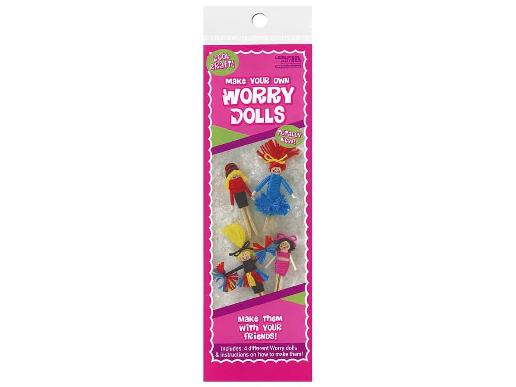 Leisure Arts Kit Worry Dolls Cheerleader