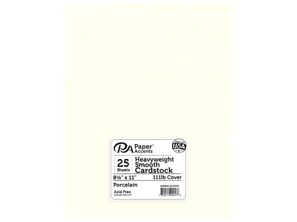 Paper Accents Cardstock 8 1/2 x 11 in. #50002 Heavyweight Smooth Porcelain 25 pc.