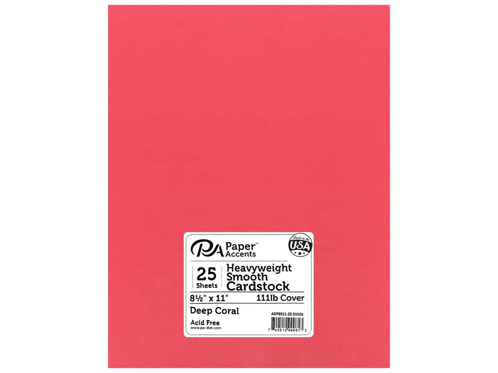 Paper Accents Cardstock 8 1/2 x 11 in. #50006 Heavyweight Smooth Deep Coral