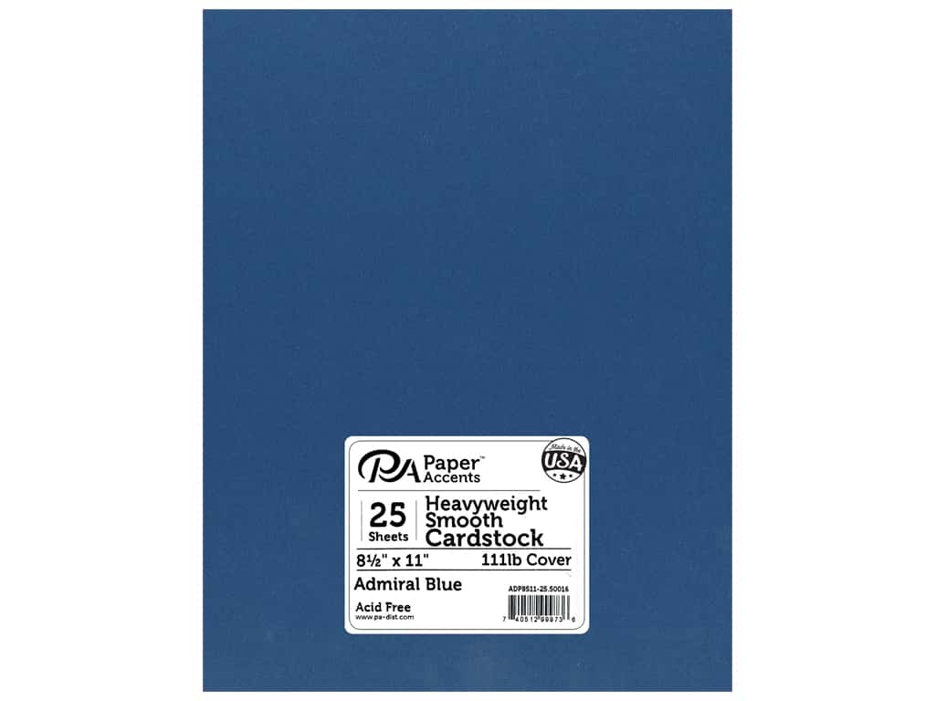 Paper Accents Cardstock 8 1/2 x 11 in. #50016 Heavyweight Smooth Admiral Blue 25 pc.