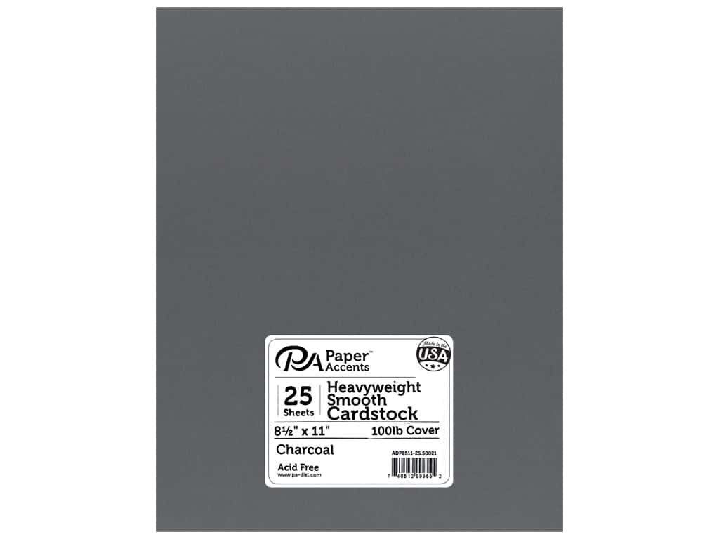 Paper Accents Cardstock 8 1/2 x 11 in. #50021 Heavyweight Smooth Charcoal 25 pc.