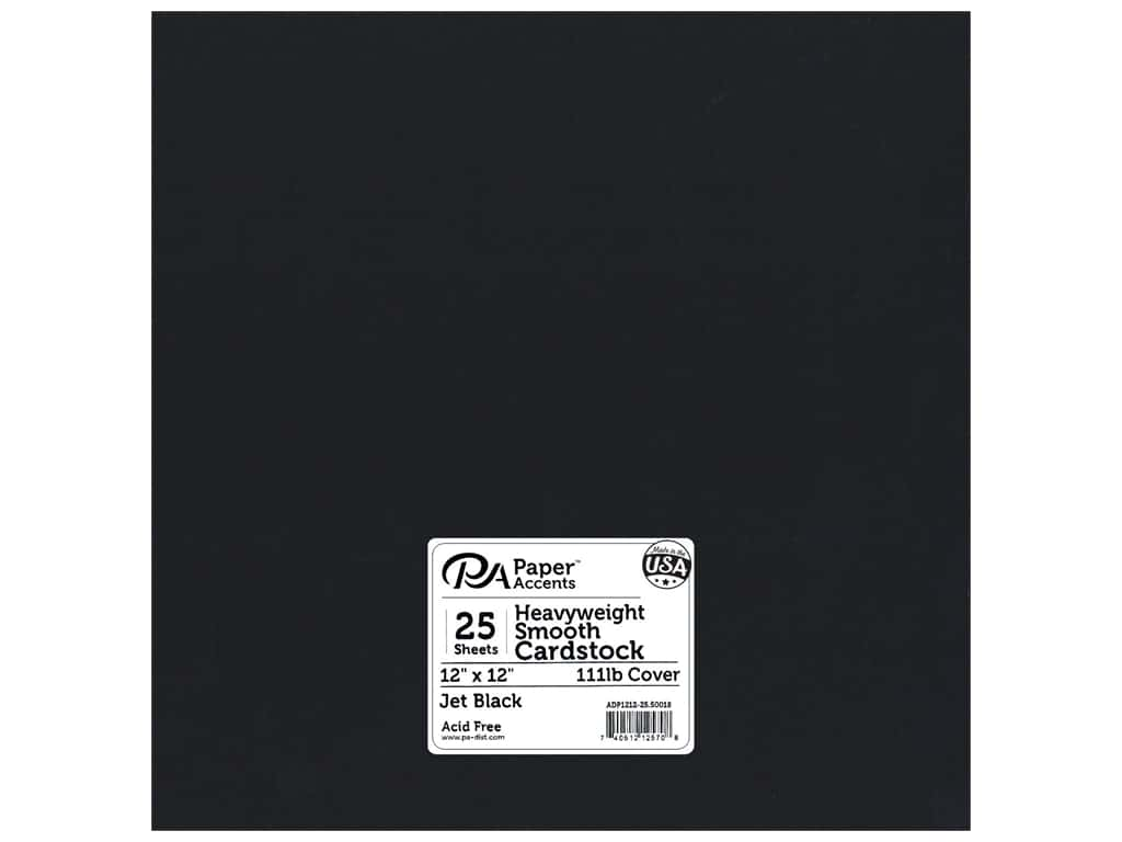 Paper Accents Cardstock 12 x 12 in. #50018 Heavyweight Smooth Jet Black