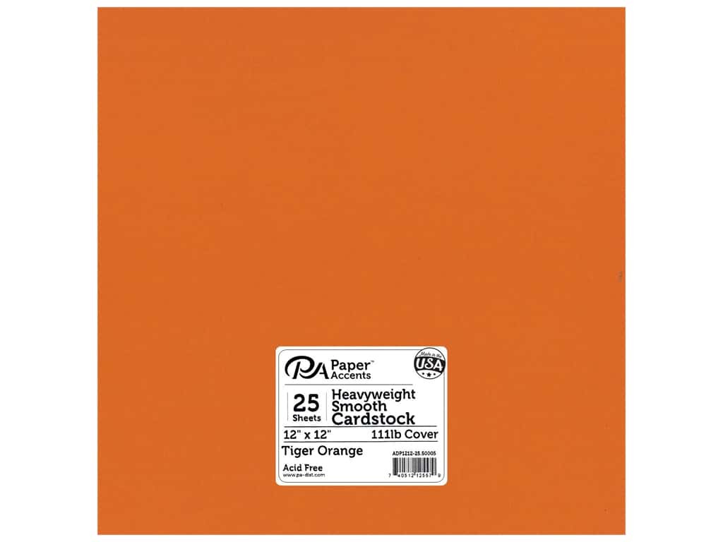 Paper Accents Cardstock 12 x 12 in. #50005 Heavyweight Smooth Tiger Orange 25 pc.
