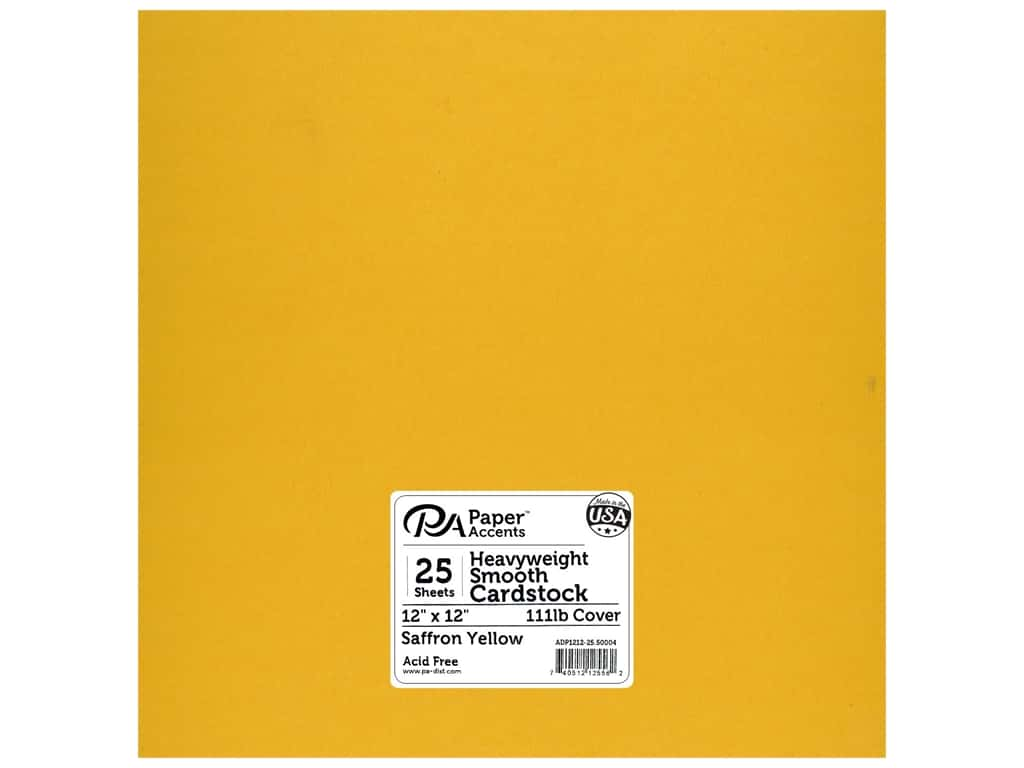 Paper Accents Cardstock 12 x 12 in. #50004 Heavyweight Smooth Saffron Yellow 25 pc.