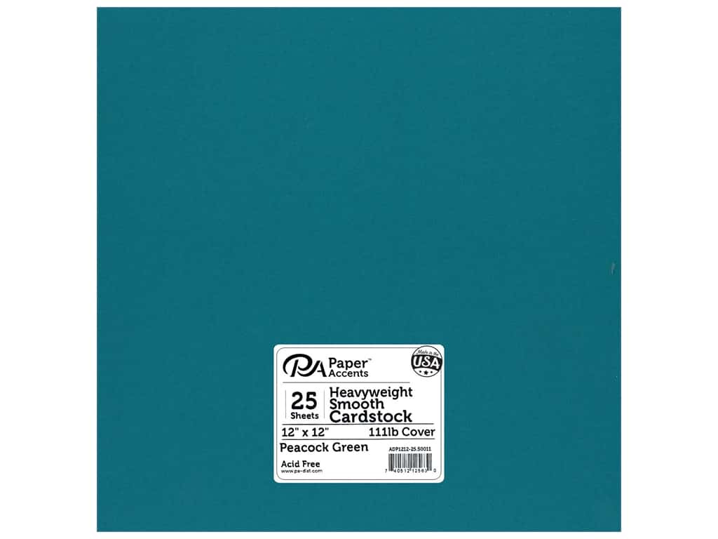 Paper Accents Cardstock 12 x 12 in. #50011 Heavyweight Smooth Peacock Green 25 pc.