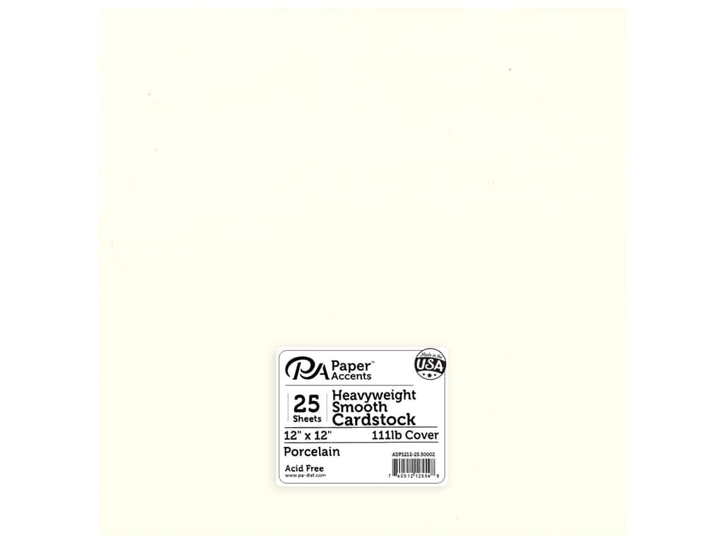 Paper Accents Cardstock 12 x 12 in. #50002 Heavyweight Smooth Porcelain 25 pc.
