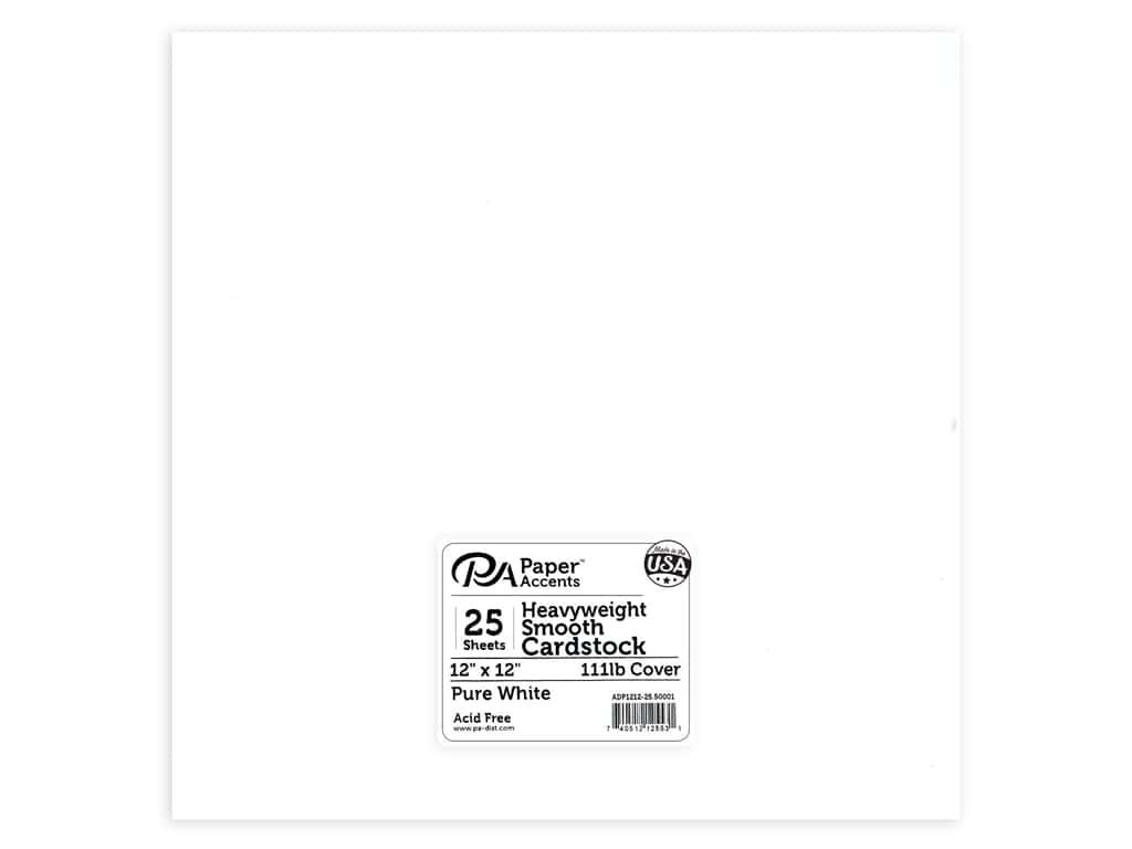 Paper Accents Cardstock 12 x 12 in. #50001 Heavyweight Smooth Pure White 25 pc.