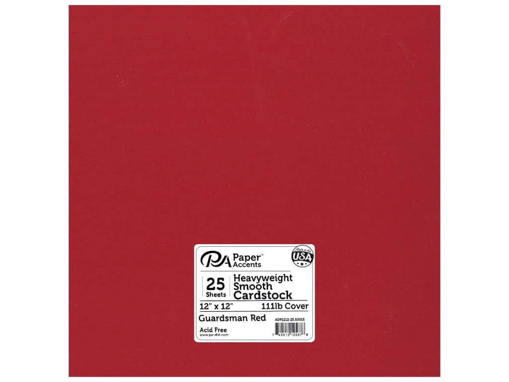 Paper Accents Cardstock 12 x 12 in. #50015 Heavyweight Smooth Guardsman Red 25 pc.