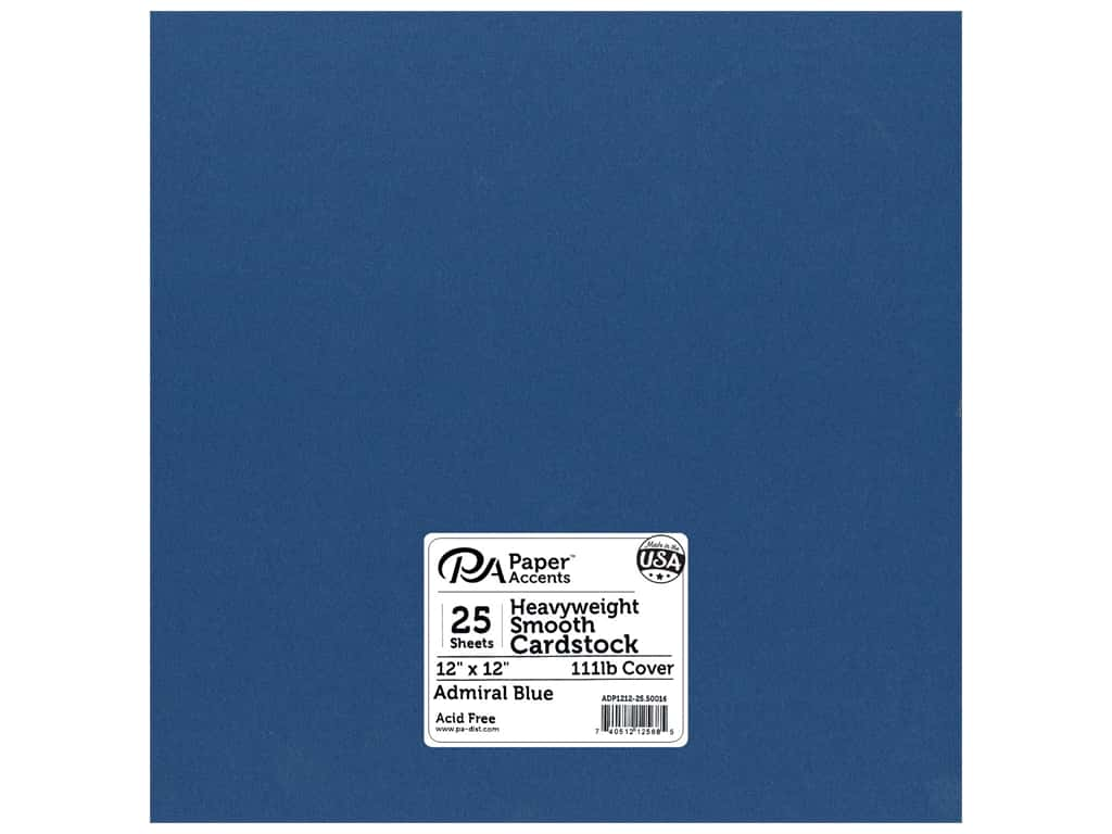 Paper Accents Cardstock 12 x 12 in. #50016 Heavyweight Smooth Admiral Blue 25 pc.