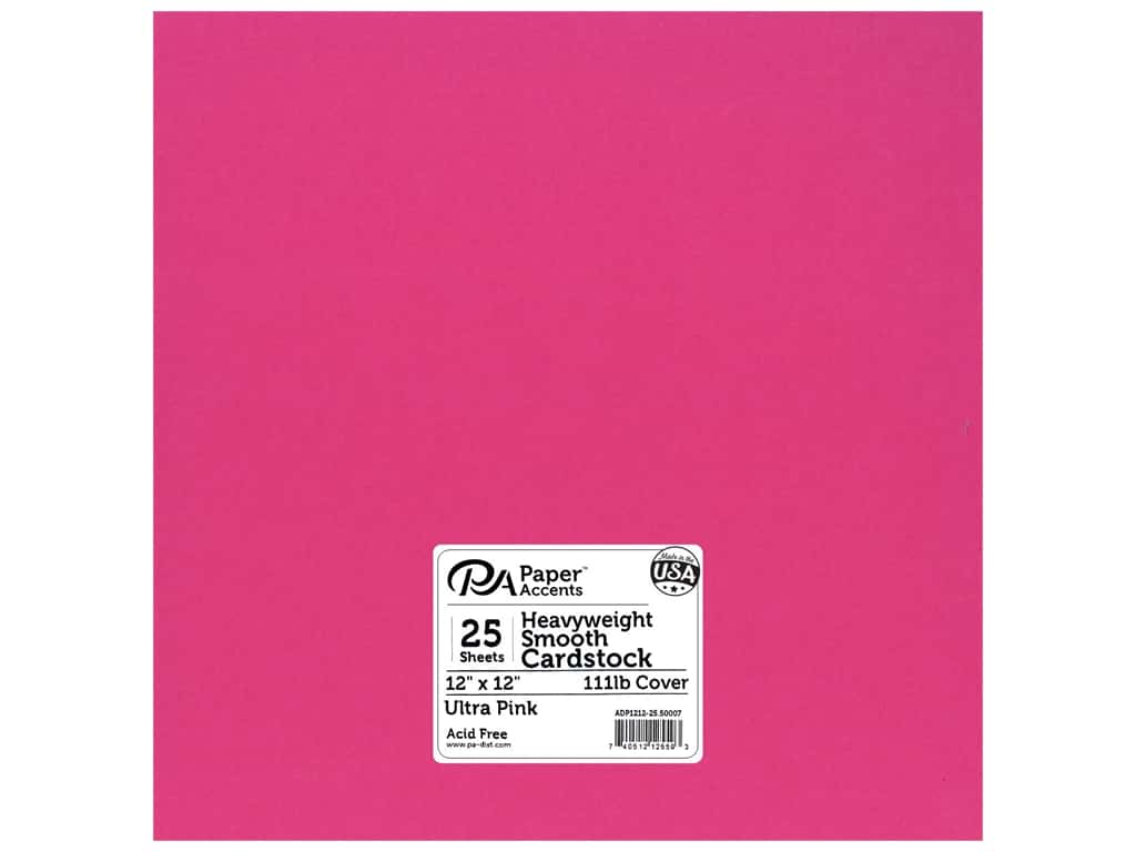 Paper Accents Cardstock 12 x 12 in. #50007 Heavyweight Smooth Ultra Pink 25 pc.