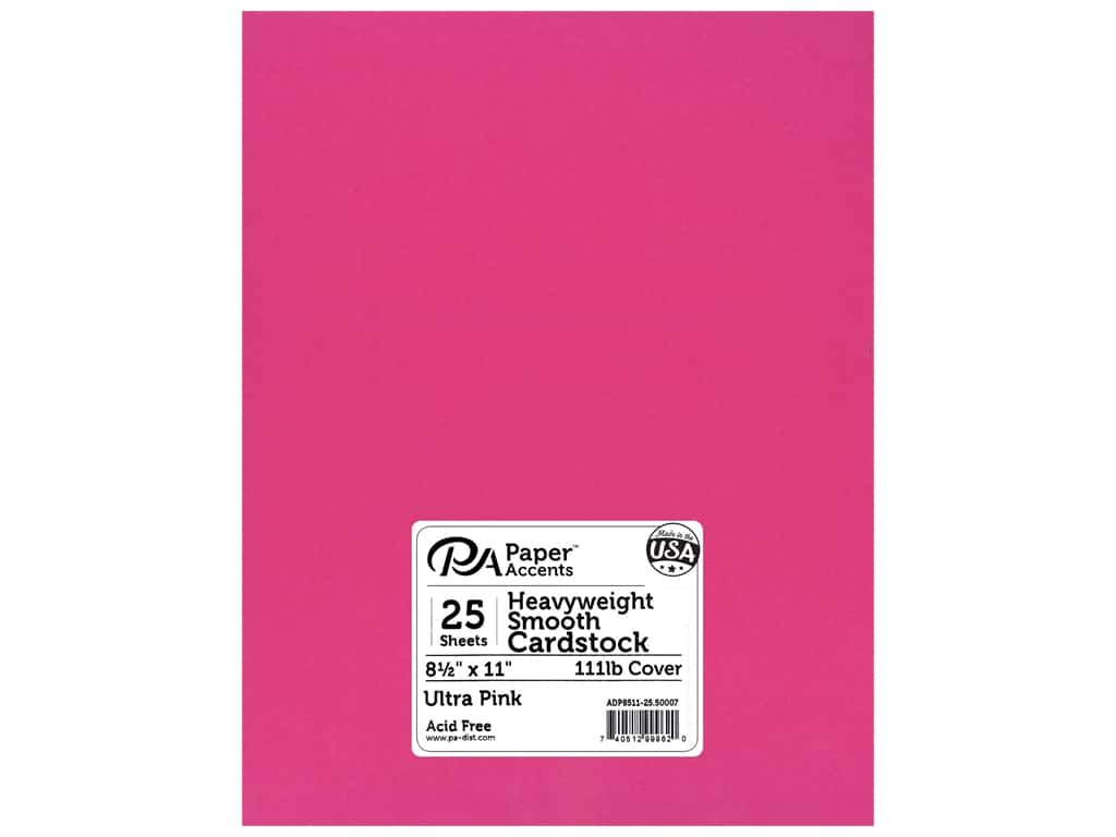 Paper Accents Cardstock 8 1/2 x 11 in. #50007 Heavyweight Smooth Ultra Pink 25 pc.