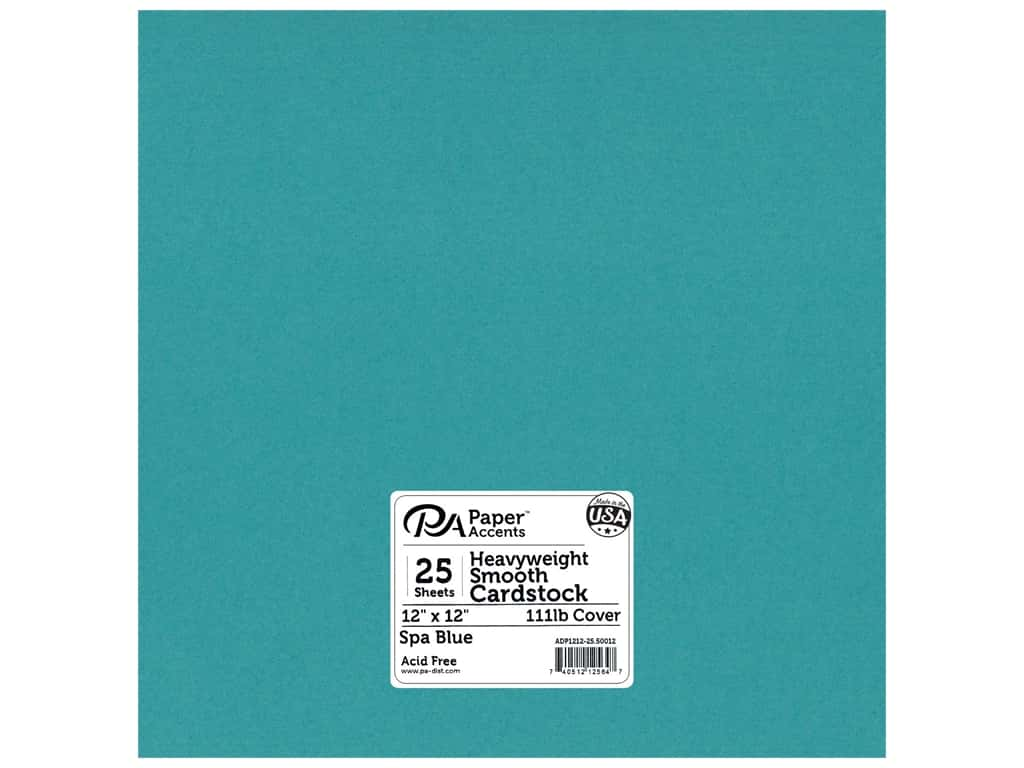 Paper Accents Cardstock 12 x 12 in. #50012 Heavyweight Smooth Spa Blue 25 pc.