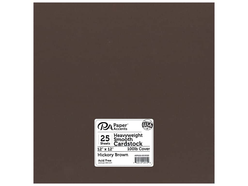 Paper Accents Cardstock 12 x 12 in. #50020 Heavyweight Smooth Hickory Brown 25 pc.