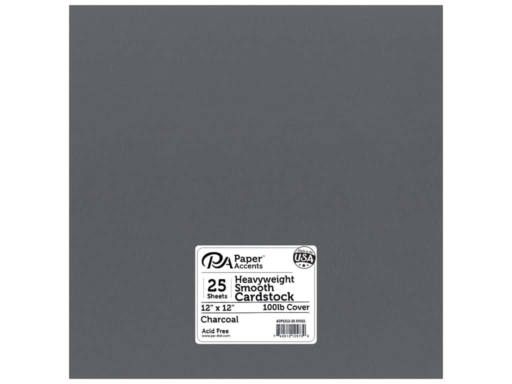 Paper Accents Cardstock 12 x 12 in. #50021 Heavyweight Smooth Charcoal 25 pc.