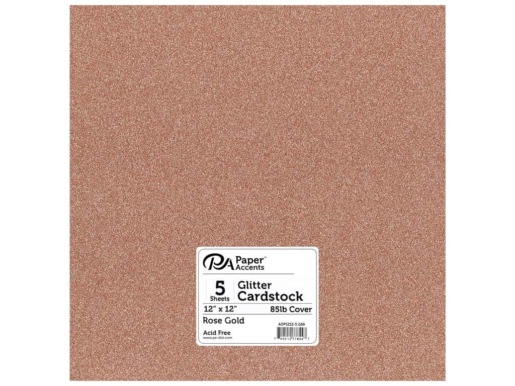 Paper Accents Glitter Cardstock 12 in. x 12 in. 85 lb Rose Gold 5 pc