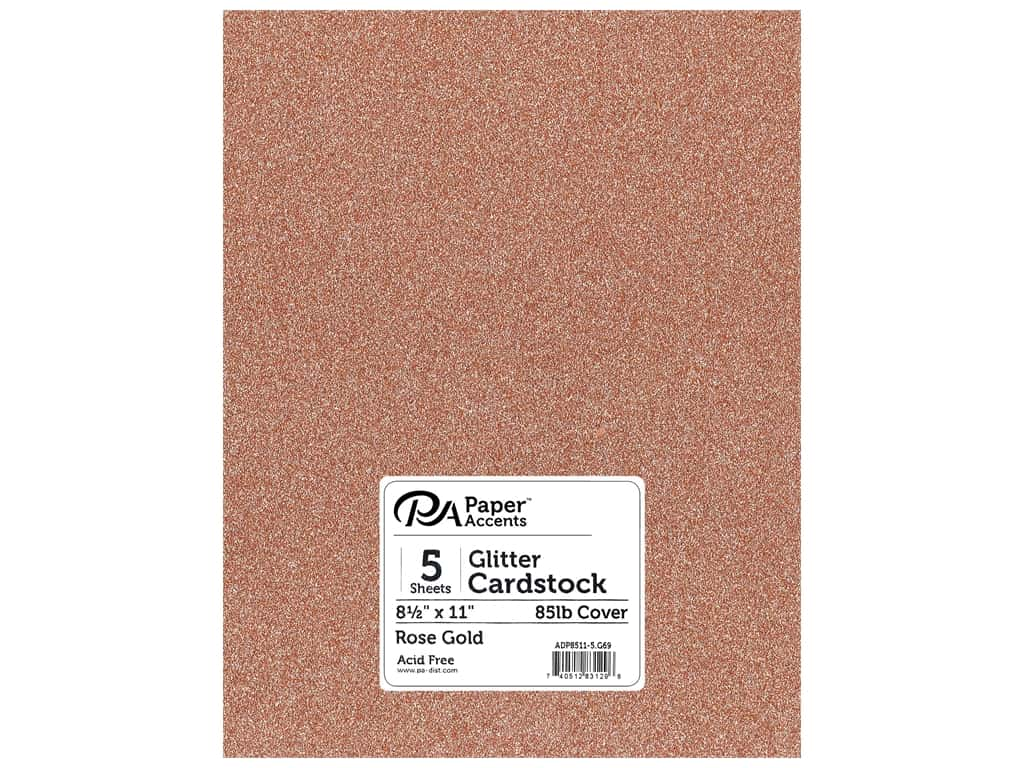 "Paper Accents Glitter Cardstock 8.5""x 11"" 85lb Rose Gold 5pc"
