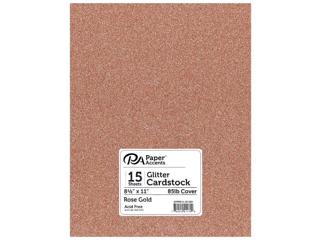Paper Accents Glitter Cardstock 8.5 in. x 11 in. 85 lb Rose Gold 15 pc
