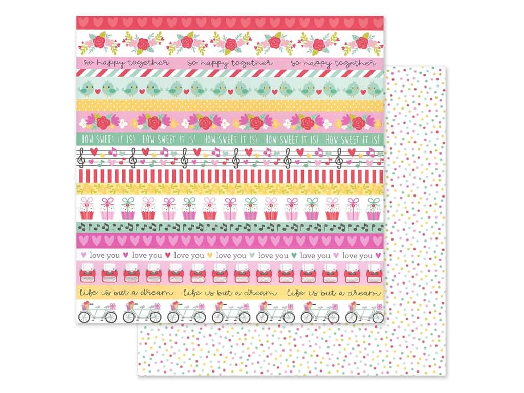 Doodlebug Collection Love Notes Paper 12 in. x 12 in. Sweet Sprinkles (25 pieces)