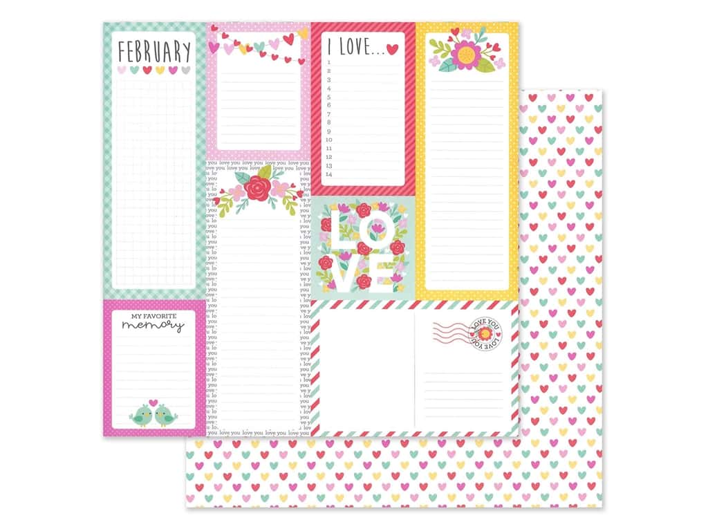 Doodlebug Collection Love Notes Paper 12 in. x 12 in. Conversation Heart (25 pieces)