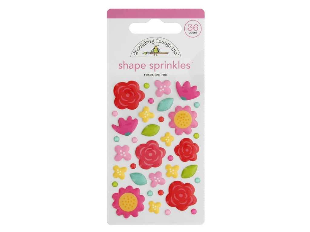 Doodlebug Collection Love Notes Sprinkles Shape Roses Are Red