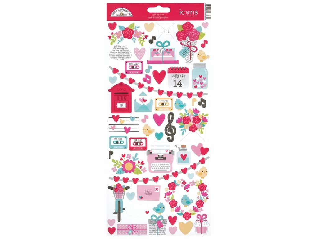 Doodlebug Icons Stickers - Love Notes