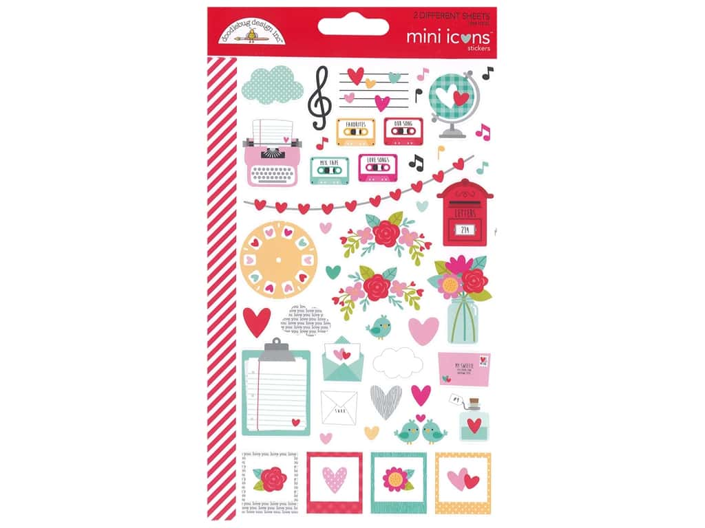 Doodlebug Collection Love Notes Sticker Mini Icon Love Notes