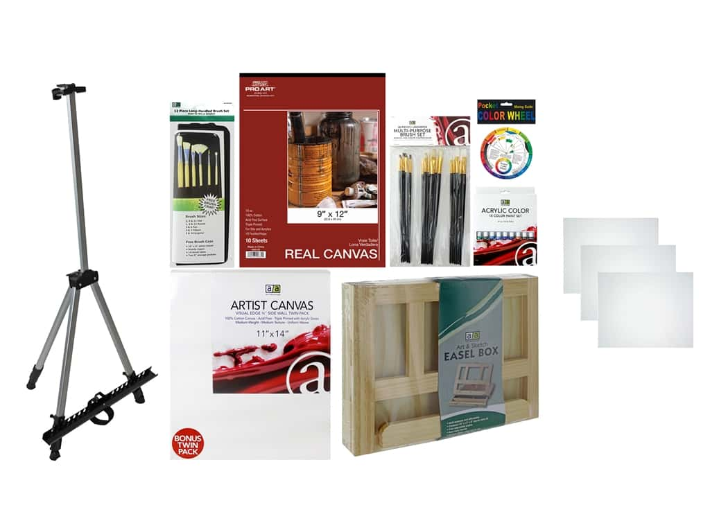 Art Advantage Art Set Acrylic Essentials Value Pack With Field Easel