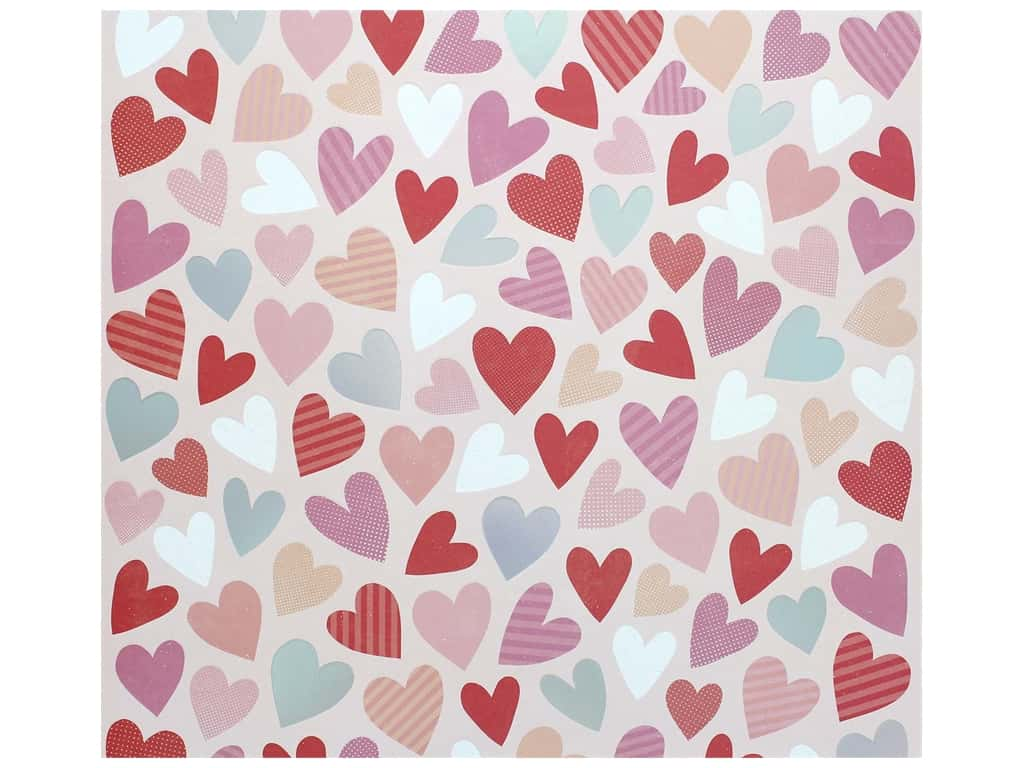 Pink Paislee Collection Lucky Us Paper 12 in. x 12 in. Embossed/Iridescent Hearts (15 pieces)