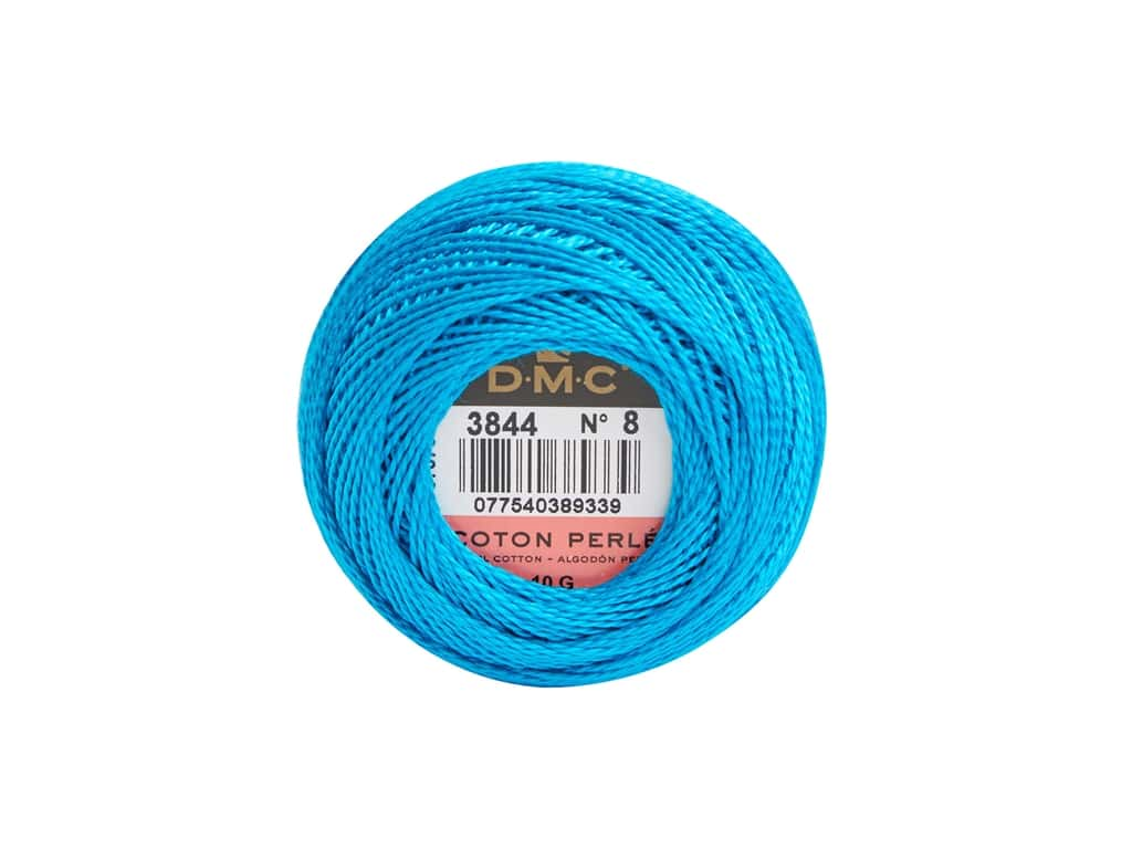 DMC Pearl Cotton Ball Size 8 #3844 Bright Turquoise (10 yards)
