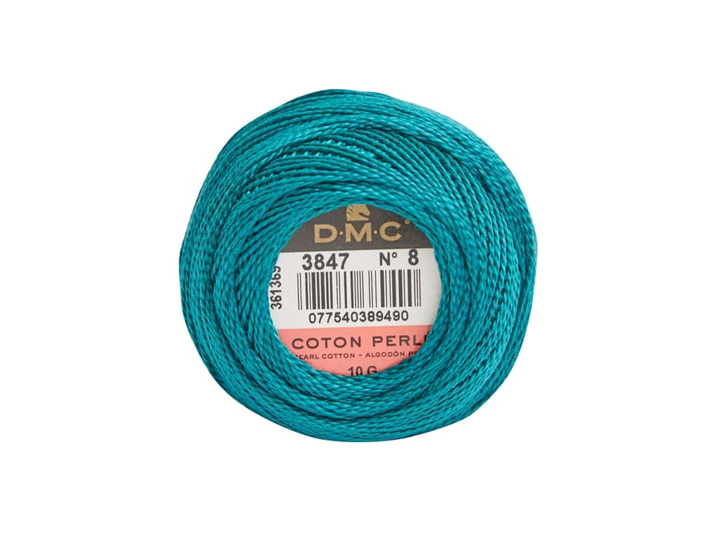 DMC Pearl Cotton Ball Size 8 #3847 Teal Green (10 yards)